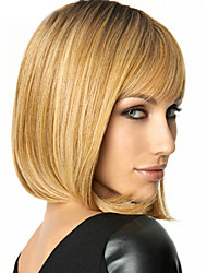 Fashionable Sweet Side Blonde Mix Color Medium Length Synthetic Hair Wig