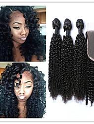 4pcs / lot afrique mongol boucle frisée extensions de cheveux avec fermeture à dentelle afro crépus bouclés vierge armure de cheveux