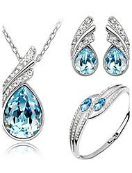 Jewelry Set Elegant Crystal Angel Wing Pendant Necklace Earring Bracelet Gift