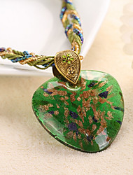 Necklace Pendant Necklaces Jewelry Party / Daily / Casual Fashion Alloy / Rhinestone Coffee / Red / Blue / Green 1pc Gift