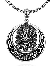 Maya Fashion Unique Wild Man Skull Man Stainless Steel Pendant Necklace(Gray)(1Pcs)