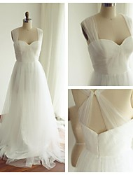 A-line Wedding Dress - Ivory Sweep/Brush Train Straps Tulle