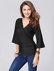 Damen Solide Sexy T-shirt,V-Ausschnitt Sommer ¾-Arm Blau / Rot / Schwarz Polyester Dünn