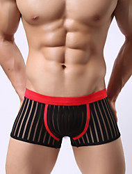 Factory direct supply of gauze underwear breathable sexy men four shorts panties stripe transparent pants