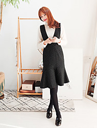 Korean Style Women's Work / Casual / Day Polka Dot A Line Dress , Strap Above Knee Cotton