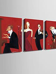 Rectangulaire Moderne/Contemporain Horloge murale , Autres Toile35 x 50cm(14inchx20inch)x3pcs/ 40 x 60cm(16inchx24inch)x3pcs/ 50 x