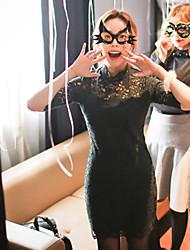 casual / dia / vestido da bainha estilo feminino coreano simples sólida, em torno do pescoço acima do joelho algodão