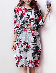 Women's Vintage / Casual / Day Floral Ethnic Print Elegant Loose Dress , Pankou Cheongsam Cotton / Linen