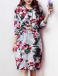 Robe Aux femmes Ample Vintage / Décontracté , Fleur Col Arrondi Mi-long Coton / Lin