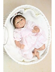NPKDOLL Reborn Baby Doll Soft Silicone 18inch 45cm Magnetic Lovely Lifelike Toy Cute Boy Girl Smile Pink