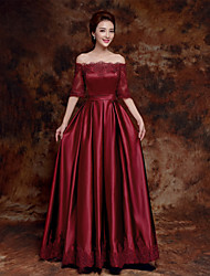 Formal Evening Dress A-line Bateau Floor-length Satin with Lace