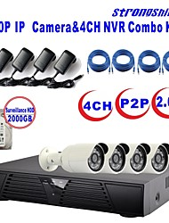 strongshine®ip camera met 1080p / infrarood / waterdicht en 4ch h.264 NVR / 2TB surveillance hdd combo kits