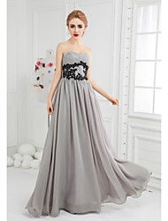 Formal Evening Dress - Silver Ball Gown Sweetheart Floor-length Chiffon