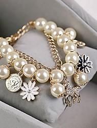 Bracelet Charmes pour Bracelets / Bracelets de rive Imitation de perle Mariage / Soirée / Quotidien / Décontracté Bijoux Cadeau Doré,1pc