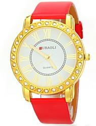 JUBAOLI Mulheres Relógio de Moda Quartzo PU Banda Brilhante Preta Branco Vermelho Marrom Branco Marron Vermelho Preto Dourado-Preto