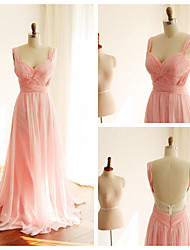 Ball Gown Straps Sweep / Brush Train Chiffon Formal Evening Dress with Criss Cross by Thstylee