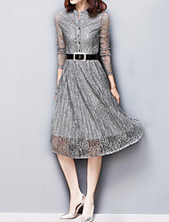 Women's Casual / Simple Solid A Line / Skater / Pleated / Cut Out Lace Dress , Slim Waist Polyester