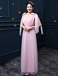 Floor-length Crepe Bridesmaid Dress - Ruby / Lilac / Pearl Pink / White / Champagne / Silver A-line Sweetheart