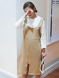 estilo coreano das mulheres casual / dia / vestido solto sólida simples, correia acima de algodão joelho