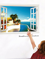 Removable Beach Sea 3D Window Scenery Wall Sticker Home Decor Decals Mural Decal Exotic Beach View