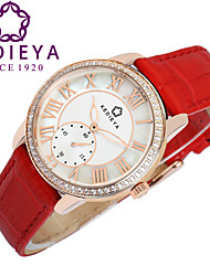 KEDIEYA Red Genuine Leather Zircon Diamond Mosaic Small Second Dial Rose Gold Case Watch Ladies Women Watches