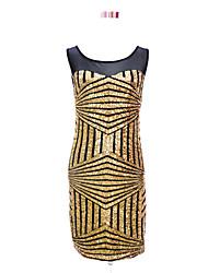 Latin Dance Dresses Women's Performance Polyester Sequins 1 Piece Black / Blue / Gold / Red / Silver Latin Dance Dress