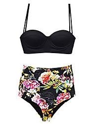 Hot Sale Women's Halter Bikinis / Tankinis , Floral Wireless Polyester / Spandex Black Beach bikini