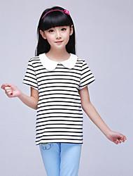 Girl's White Tee,Stripes Cotton Summer