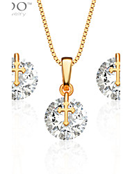 Fashion Necklace Earrings Jewelry Sets Trendy 18K Gold Plated Zircon Jewelry Set Women Party Gift S20069