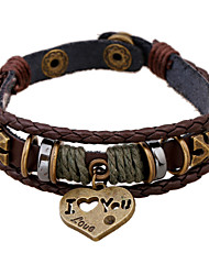 I Love You Heart Design Triple Layer Leather Bracelets