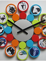 Fashion Design Round Photo Frame Wall Clock, High Quality Home Decor with 12 art picture frames
