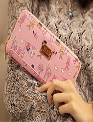 The new ms tong qu cartoon printing phone package card bag large capacity wallet zipper hand bag