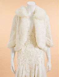 Wedding  Wraps Coats/Jackets 3/4-Length Sleeve Faux Fur Ivory Wedding / Party/Evening / Casual Rolled collar Pattern Open Front
