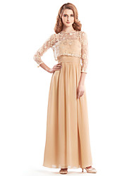 Lanting A-line Mother of the Bride Dress - Champagne Ankle-length 3/4 Length Sleeve Chiffon / Lace