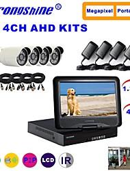 câmera ahd strongshine® com 960p / infravermelho / impermeável e 4 canais DVR ahd com kits lcd de combinação de 10,1 polegadas
