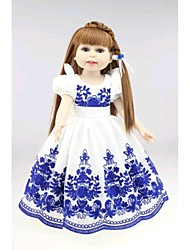NPKDOLL Lovely Girl Toy Doll High Soft Vinyl 18inch 45cm Lifelike Movable Smile Princess China Style Blue
