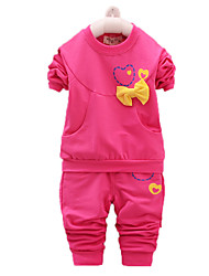 Girl's Green / Pink / Red Clothing Set,Bow Cotton Spring / Fall