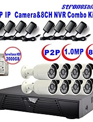 Strongshine®IP Camera with 720P/Infrared/Waterproof and 8CH  H.264 NVR/2TB Surveillance HDD Combo Kits