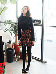 Korean Style Women's Casual / Day / Simple Polka Dot Loose Dress , Turtleneck Above Knee Polyester