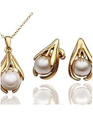 Jewelry Set Shining Crystal Elegant Imitation Pearl Pendant Necklace Earring(Assorted Color)