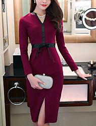 vintage / travail patchwork robe fourreau de charme de les femmes, v cou genou pu / polyester