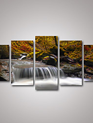 5 Panels Autumn Waterfall in the Forest Landscape Picture Print on Canvas for Home Decoration Unframed