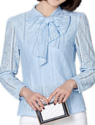 Spring Women's Bow Collar Slim Was Thin Fashion Splice Long Sleeve Lace OL Shirt Blouse Tops