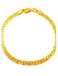 18K Chain Bracelet Gold Plated Jewelry Wholesale Trendy 20 CM 5.3 MM Wide Chain & Link Bracelet Unisex Jewelry B40059