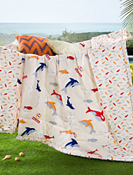 Little Fish High-end 100% Cotton Air Conditioning Quilt summer Cool Quilt Full/Queen Size