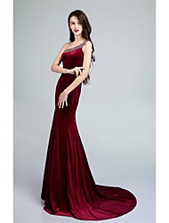 Formal Evening Dress - Burgundy Trumpet/Mermaid One Shoulder Sweep/Brush Train Velvet