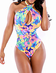 Women's Halter One-pieces / Cover-Ups , Color Block / Floral Wireless Polyester Multi-color