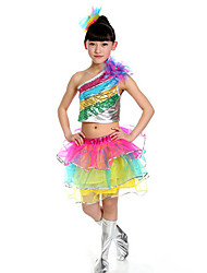 Jazz Outfits Children's Performance Sequined Sequins 2 Pieces Sleeveless Skirt / Top S:28cm  M:30cm  L:32cm  XL:34cm