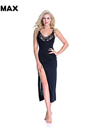 XFMAX NEW Black Maxi Dress Sleeveless Party Club Long Sexy Lingerie Dress One Size