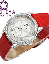 KEDIEYA Red Genuine Leather Zircon Diamond Mosaic Small Second Dial 50M Waterproof Watch Ladies Womens Watches
